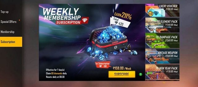 Free Fire Weekly Membership Top Up India Is It Worth To Purchase