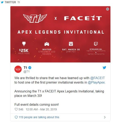 FACEIT And Rebranded SKT T1 Will Host An Apex Legends