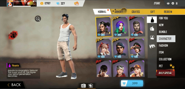 how to unlock characters in Free Fire