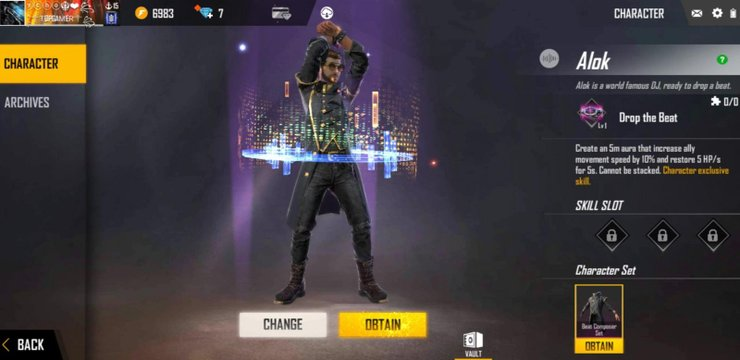 how to open alok character in free fire