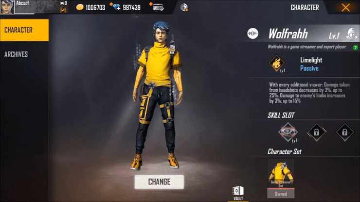 Free Fire Wolfrahh Details